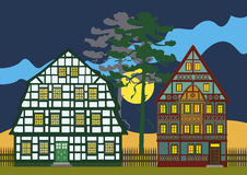 Het platteland van Duitsland bij nacht Stock Afbeelding