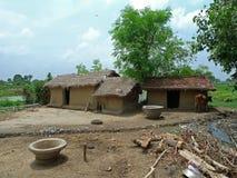 Het plattelandshuis van de modder (Bodh Gaya - India) Royalty-vrije Stock Afbeeldingen