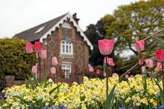 Het plattelandshuisje en de bloemen van het land Stock Afbeeldingen