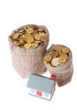 Het plattelandshuisje en de zakken van het stuk speelgoed met geld. Stock Foto's