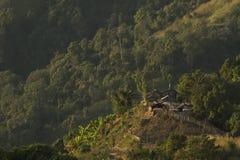 Het plattelandshuisje in het bos Stock Foto