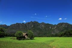 Het plattelandshuisje op bergachtergrond in Laos Stock Foto
