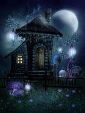 Het plattelandshuisje van de fee met lampen Stock Afbeeldingen