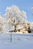Het plattelandshuisje van de winter Stock Fotografie