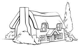 Het plattelandshuisje van het landbouwbedrijfhuis stock illustratie