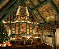 Het Plattelandshuisje van Kerstmis Stock Fotografie