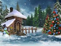 Het plattelandshuisje van Kerstmis met een sneeuwman Stock Afbeeldingen