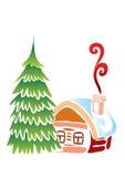 Het plattelandshuisje van Kerstmis met F Royalty-vrije Stock Afbeelding