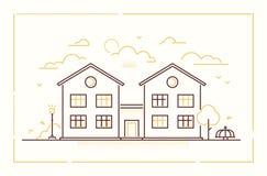 Het plattelandshuisje van Nice - moderne dunne de stijl vectorillustratie van het lijnontwerp royalty-vrije illustratie