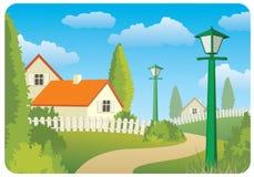 Het plattelandslandschap van de dag royalty-vrije illustratie