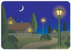 Het plattelandslandschap van de nacht vector illustratie