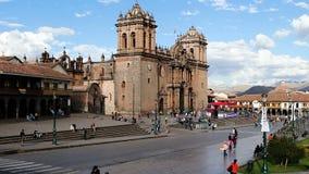 Het Plein DE Armas Cusco Peru South America van het voetverkeer stock footage