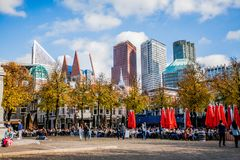 DEN HAAG SKYLINE MODERN AND OLD ARCHITECTURE Stock Images