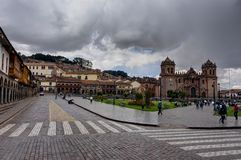 Het plein van de straatscène in Cusco Peru Stock Afbeelding
