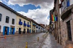 Het plein van de straatscène in Cusco Peru Stock Foto's