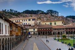 Het plein van de straatscène in Cusco Peru Royalty-vrije Stock Fotografie