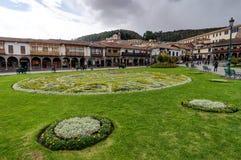 Het plein van de straatscène in Cusco Peru Stock Foto