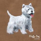 Het pluizige hond schilderen, groetkaart Royalty-vrije Stock Foto's