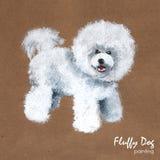 Het pluizige hond schilderen, groetkaart Royalty-vrije Stock Fotografie