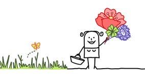 Het plukken van bloemen royalty-vrije illustratie
