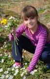 Het plukken van het meisje de lentebloemen Royalty-vrije Stock Afbeelding