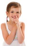 Het plukken van het meisje neus Stock Afbeeldingen