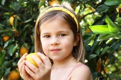 Het plukken van het meisje sinaasappelen Royalty-vrije Stock Foto's