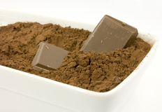 Het poeder van de cacao in de kom Stock Afbeeldingen