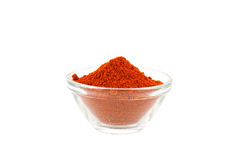 Het poeder van de paprika in glaskom Stock Afbeelding
