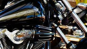 Het poetsmiddel van de Harleymotorfiets het verzorgen Stock Fotografie