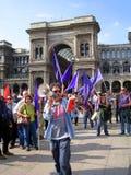 HET POLITIEKE PROTEST VAN DE DAG VAN DE BEVRIJDING. MILAAN, ITALIË Stock Afbeelding