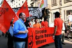 Het politieke protest van de Dag van de bevrijding. Milaan, Italië Royalty-vrije Stock Foto's