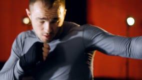 Het ponsen van de close-upbokser MMA-vechtersschaduw het in dozen doen Langzame Motie stock footage