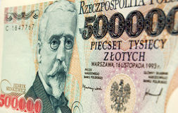 Het Poolse bankbiljet van Sienkiewicz van Henryk Stock Foto