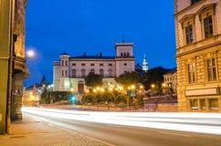 Het Poolse verkeer van de stadsnacht Stock Afbeeldingen