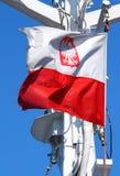 Het Poolse vlag klappen in de wind Royalty-vrije Stock Foto
