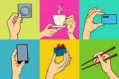 Het pop-art overhandigt vectorillustratie Stock Afbeeldingen