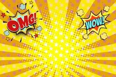 Het pop-artachtergrond van Omg wauw geeloranje stralen royalty-vrije illustratie