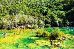 Het populaire nationale park van Krka met rivier in Kroatië Stock Afbeeldingen