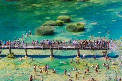 Het populaire Nationale park van Krka tijdens bezige de zomervakantie in Kroatië 25 08 2016 royalty-vrije stock foto