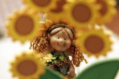 Het porseleinpop van de zonnebloem Royalty-vrije Stock Afbeeldingen