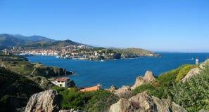 Het Port-Vendres van het panorama Stock Foto