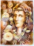 Het portret die van de feeengel op papier trekken vector illustratie