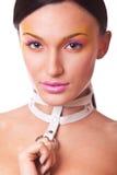 Het portret donkerbruine vrouw van de schoonheid Stock Fotografie