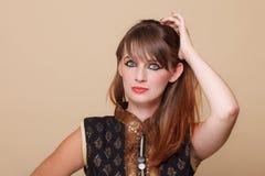 Het portret oriënteert meisje met make-up stock foto
