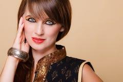 Het portret oriënteert meisje met make-up stock fotografie