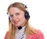 Het portret van Blonds met hoofdtelefoons Royalty-vrije Stock Afbeeldingen