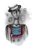 Het portret van bootst met speelkaarten na Royalty-vrije Stock Fotografie