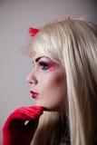 Het portret van cabaretmeisje met schittert make-up Royalty-vrije Stock Afbeeldingen