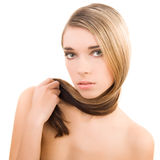 Het portret van de aantrekkingskracht, het vrouwelijke modelgezicht van de schoonheidsmanier Stock Afbeelding